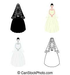 Bride in a beautiful wedding dress.Wedding single icon in cartoon style vector symbol stock illustration.