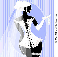 bride in a corset - abstract bride in white corset with veil