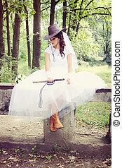 bride in a cowboy hat, tinted
