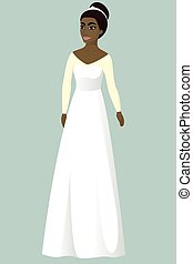 Bride in A-line wedding dress