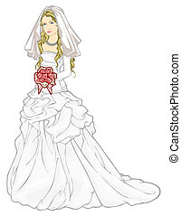 Bride in a wedding gown - Vector illustration of beautiful...