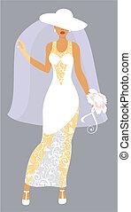 Bride in a white hat