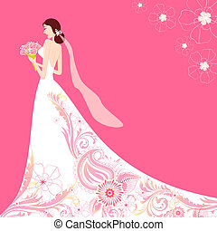 Bride in Floral Wedding Dress - illustration of bride...