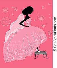 Bride in sparkling wedding dress - Vector illustration of...