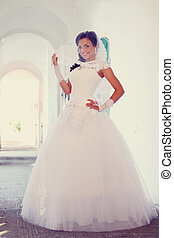 bride in the arcade, tinted