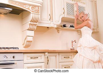 bride in the kitchen