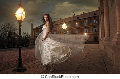 Bride in  the night before the church