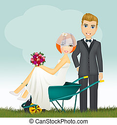 Bride in the wheelbarrow