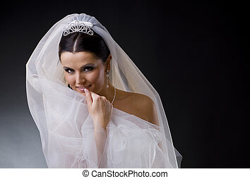 Bride in veil - Portrait of a smiling young bride wearing a...