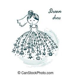 Bride in wedding dress funny card