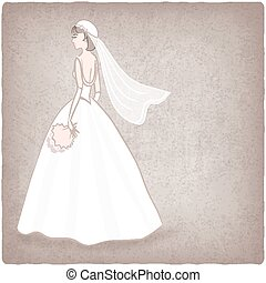 bride in wedding dress old background