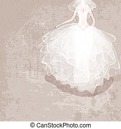 bride in wedding dress on grungy background