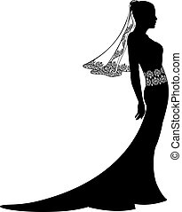 Bride in wedding dress silhouette with pattern on lace veil and dress