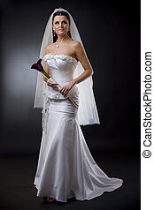 Bride in wedding dress - Studio portrait of a young bride...