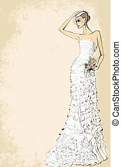 Bride in wedding dress with a bouquet of roses on a pink ...