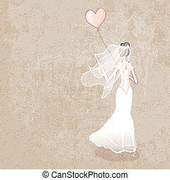 bride in wedding dress with balloon - vector illustration....
