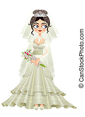 Bride in Wedding Gown - easy to edit vector illustration of...