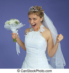 Bride in white dress shouts with happiness