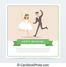 Bride in white wedding dress and groom in black suit dancing, happy wedding banner flat vector element for website or mobile app