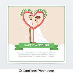 Bride in white wedding dress and groom in black suit near ceremonial arch in the shape of a heart, happy wedding banner flat vector element for website or mobile app