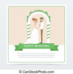 Bride in white wedding dress and groom in black suit under ceremonial arch, happy wedding banner flat vector element for website or mobile app