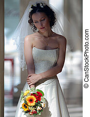 Bride in white wedding dress