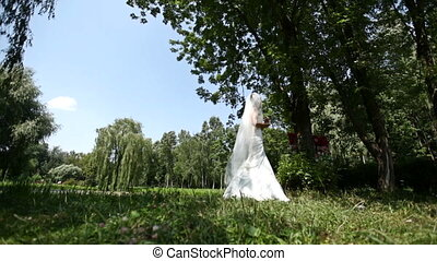 bride is crying in the park