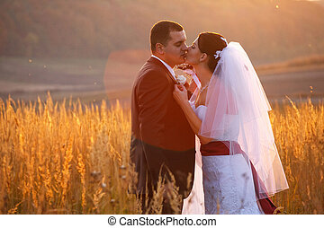 Bride kisses a groom tender  leaning on him