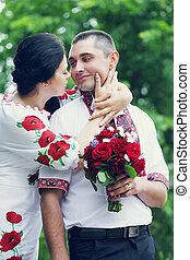 bride kisses the groom