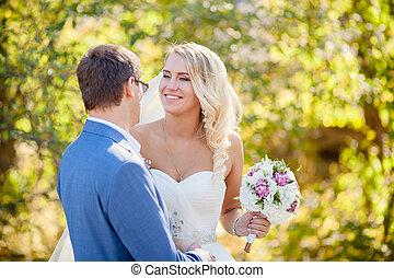 bride laughing groom