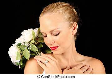 Bride Looking at Her Diamond Ring