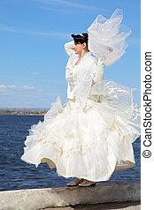 bride near river