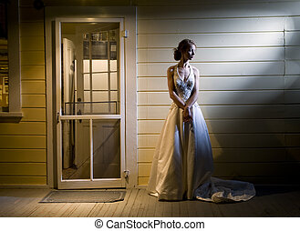 Tall Young Bride Alone on Back Porch