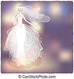 Bride on blurred background