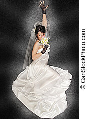 Bride on dark background