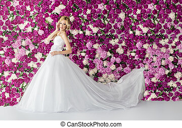Bride on the peony flower background