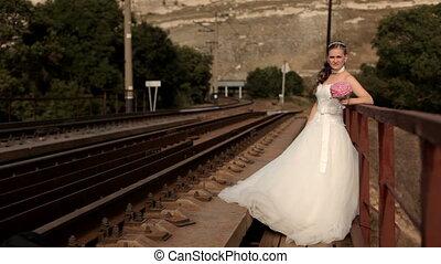 Bride on the railroad