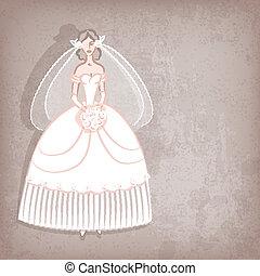 Bride on vintage background