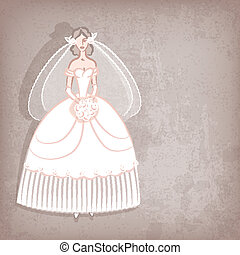 Bride on vintage background