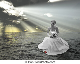 bride on water collage