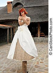 bride on wedding walk