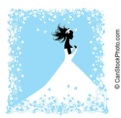 bride., ontwerp, jouw, illustratie, trouwfeest
