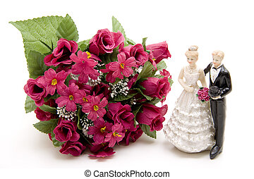 Bride pair with bunch of roses