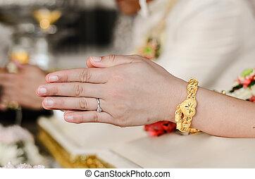 Bride praying on wedding day