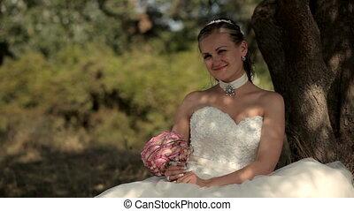 Bride sat down to rest