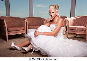 bride seated on the floor
