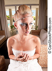 Bride seated waiting