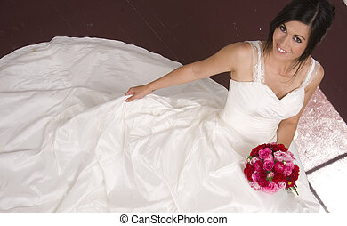 Bride Seated with Bouquet