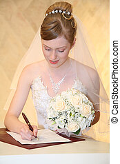 Bride sets signature