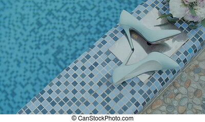 Bride Shoes near by Pool